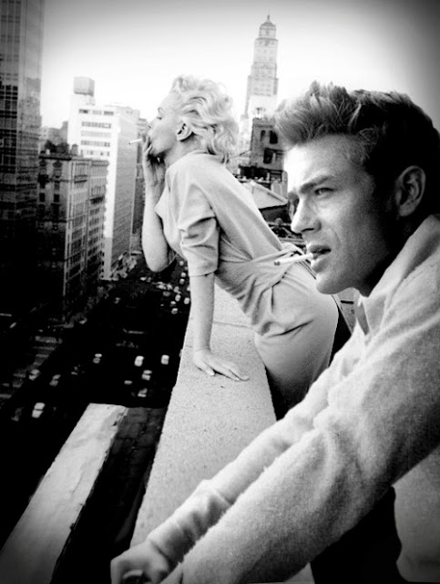 Marilyn Monroe and James Dean in a candid shot off set.